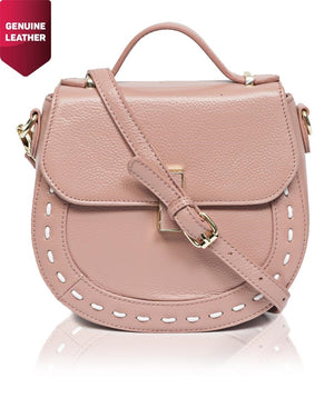 Genuine Leather Crossbody Bag - Pink