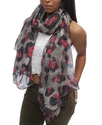 Leopard Scarf - Red