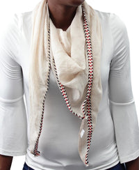 Tribal Edge Scarf - Beige