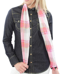 Girls Check Scarf - Pink