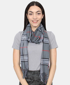 Check Scarf - Grey