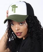 Three Tone Unisex Peak Cap - Black-White