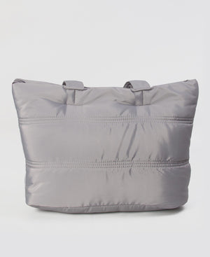 Quilt Puff Shopper Bag - Light Grey