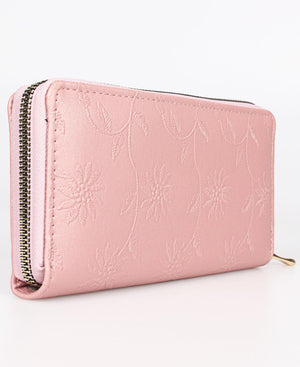 Embossed Zip Around Wallet - Mink
