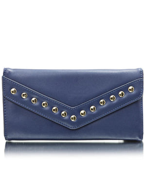 Studded Flap Wallet - Blue