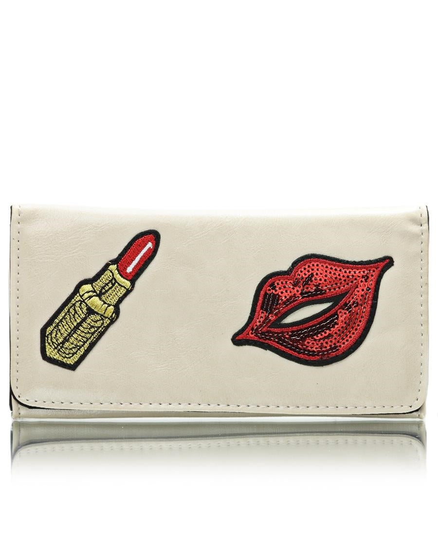 Embroided Wallet - Nude