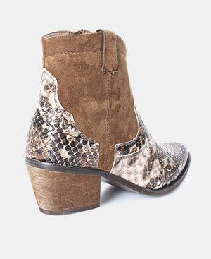Snake Print Ankle Boots - Taupe