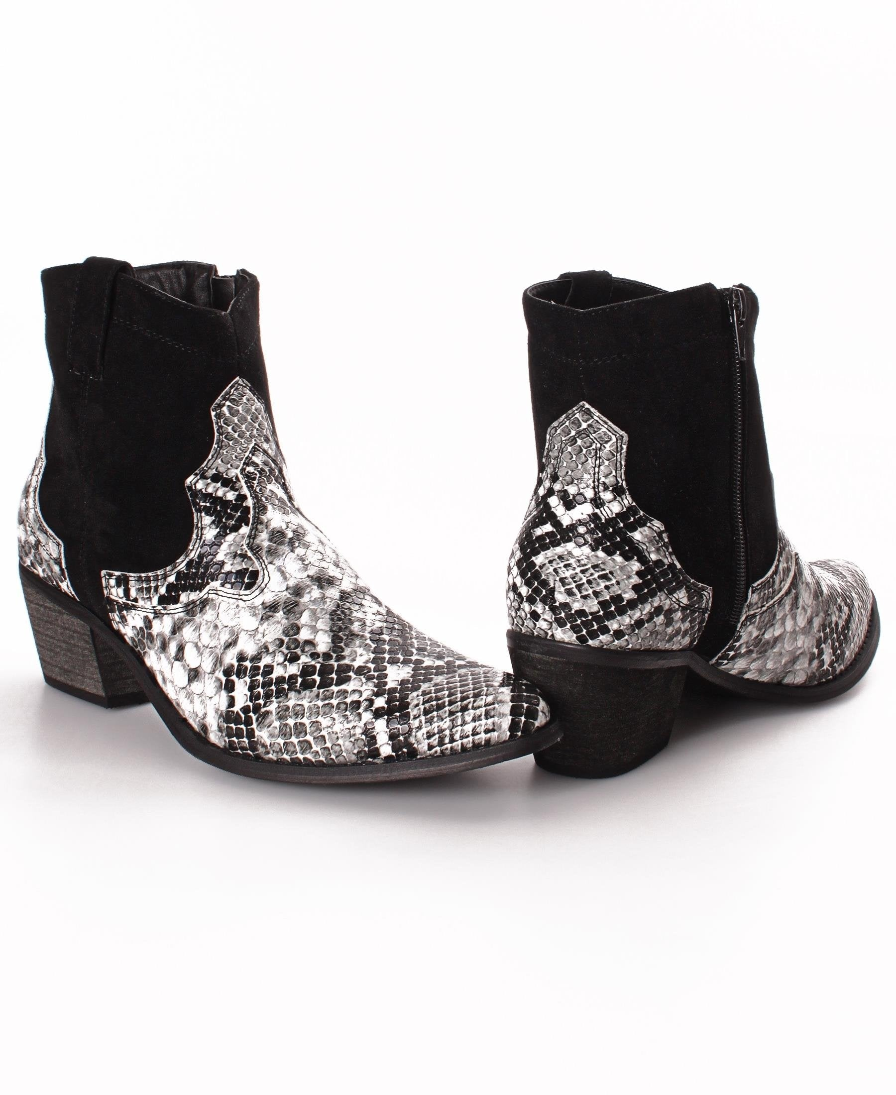 Snake Print Ankle Boots - Black