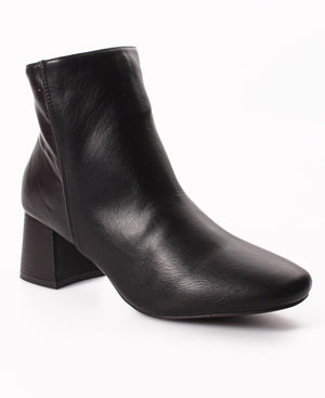 Block Heel Ankle Boots - Black