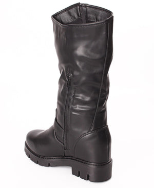 Knee High Platform Buckle Boots - Black
