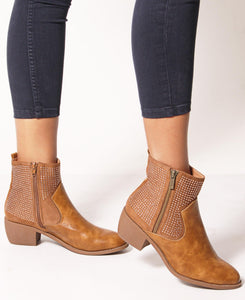 Embellished Ankle Boots - Tan