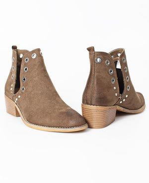 Side Slit Ankle Boots - Taupe