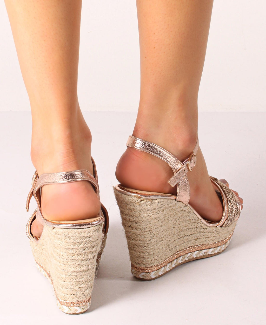 Espadrille Wedge Sandals - Rose Gold