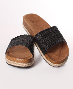 Espadrille Slip On Sandals - Black