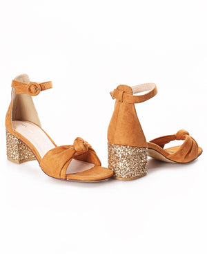 Knotted Strap Block Heels - Brown