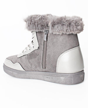 Fur Lace Up Boots - Grey