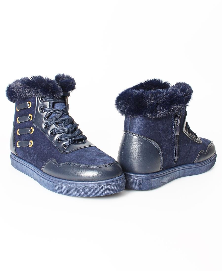 Fur Lace Up Boots - Navy