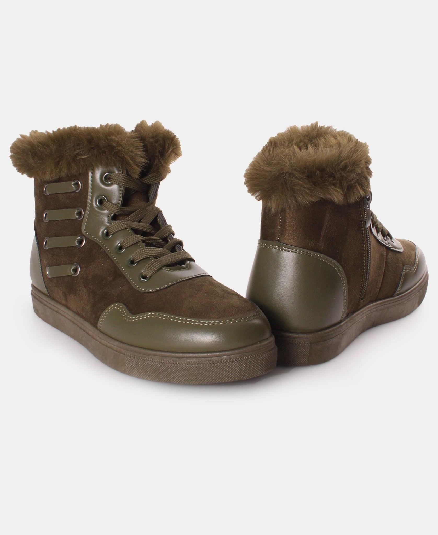 Fur Lace Up Boots - Olive