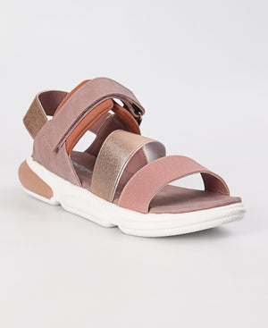 Ladies Rose Gold Velcro Strap Sandals - Sandals