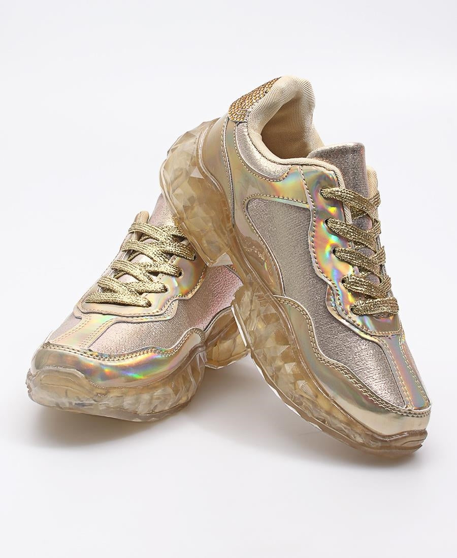 Ladies' Casual Sneakers - Gold