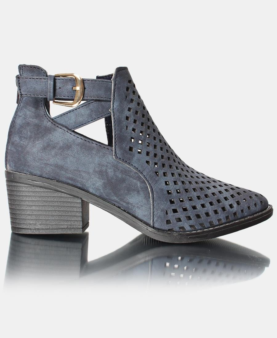 Lazer Cut Ankle Boots - Navy