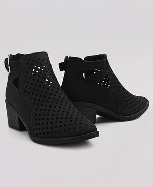 Lazer Cut Ankle Boots - Black