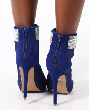 Open Front Diamante High Heels - Blue