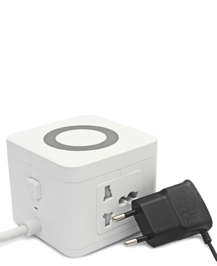 Multi Adaptor Tower With Wireless Charger - White