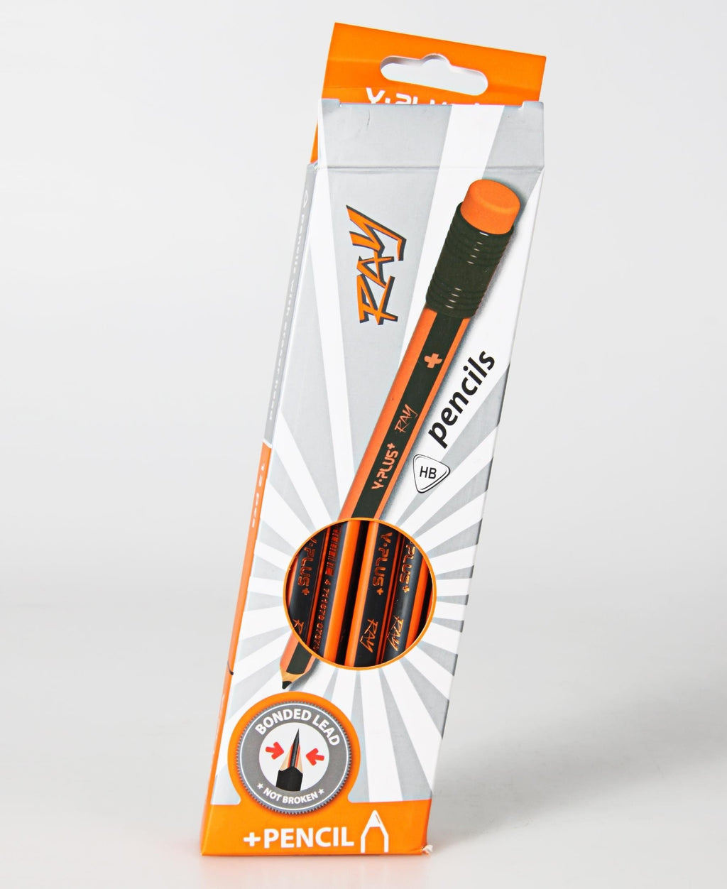 Y-Plus Ray 12'S Tri Jumbo HB Pencils - Orange