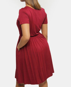 Shift Dress - Burgundy