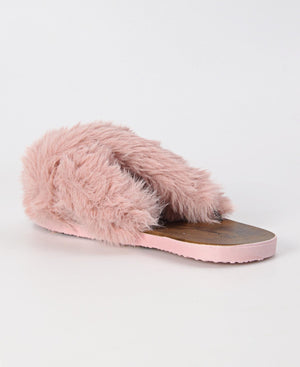 Criss Cross Fur Sandals - Mink