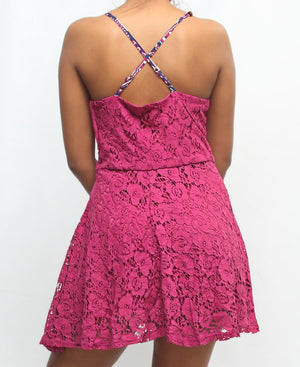 Casual Lace Dress - Pink