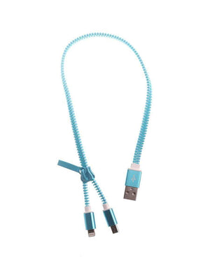 Zip Style USB Cable - Blue