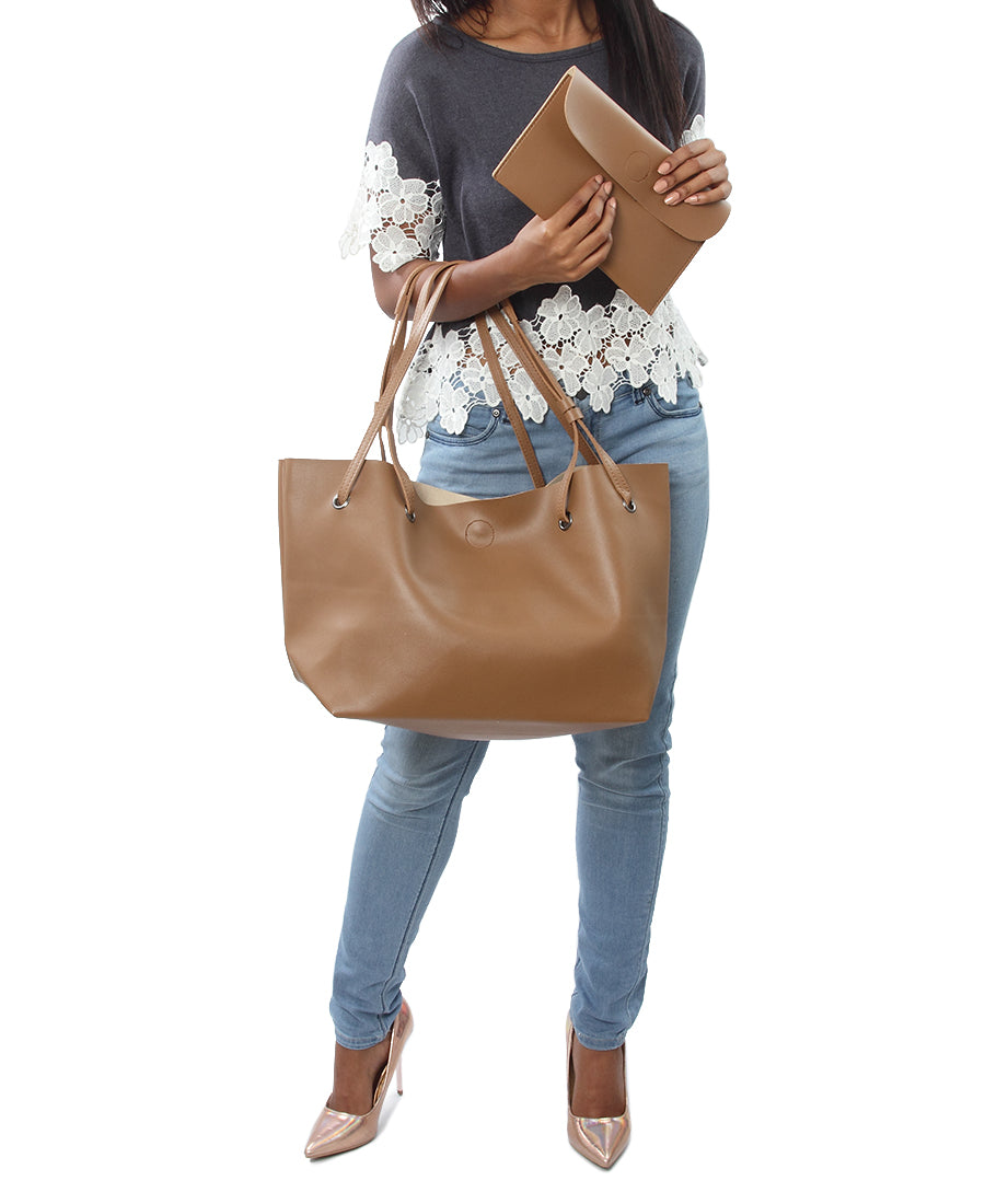 2 Piece Shopper Bag - Taupe