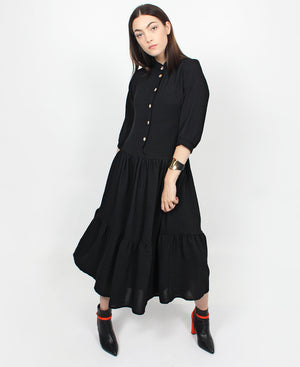 Short Sleeve Frill Dress - Black
