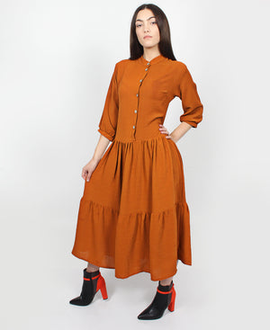 Short Sleeve Frill Dress - Brown