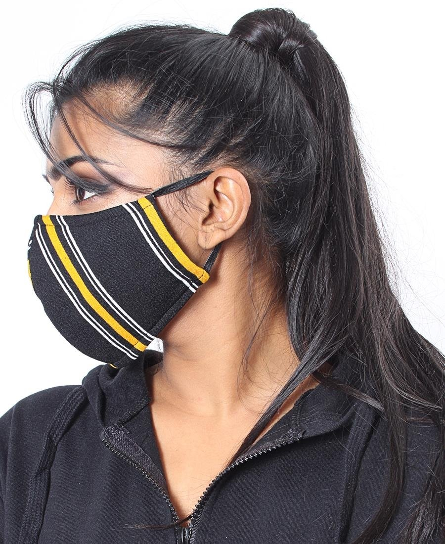 3 Ply Stripe Cloth Face Mask  - Black-Mustard