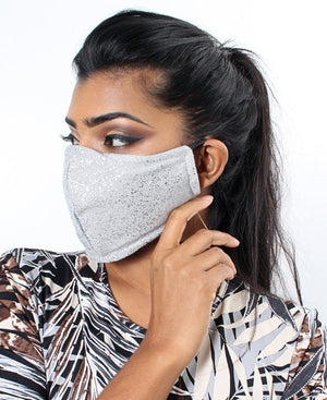 Shimmer3 Ply Cloth Face Mask  - Silver