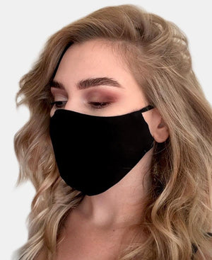 Black Scuba Comfy Cloth Mask - Black