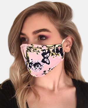 Floral Printed Scuba Cloth Face Mask - Mink