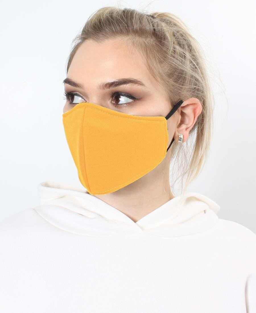 Kids 3 Ply Cloth Face Masks - Mustard