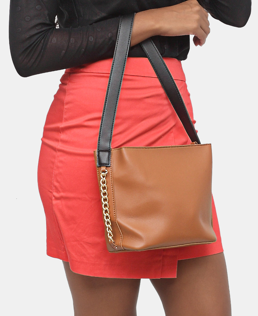 2 Piece Shopper Bag - Brown