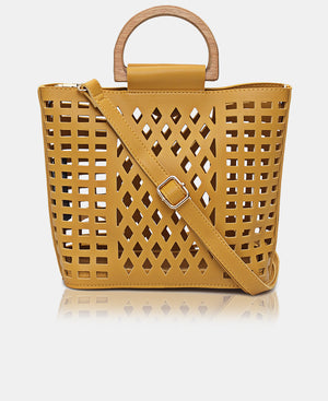 2 Piece Lazer Cut Tote Bag - Mustard