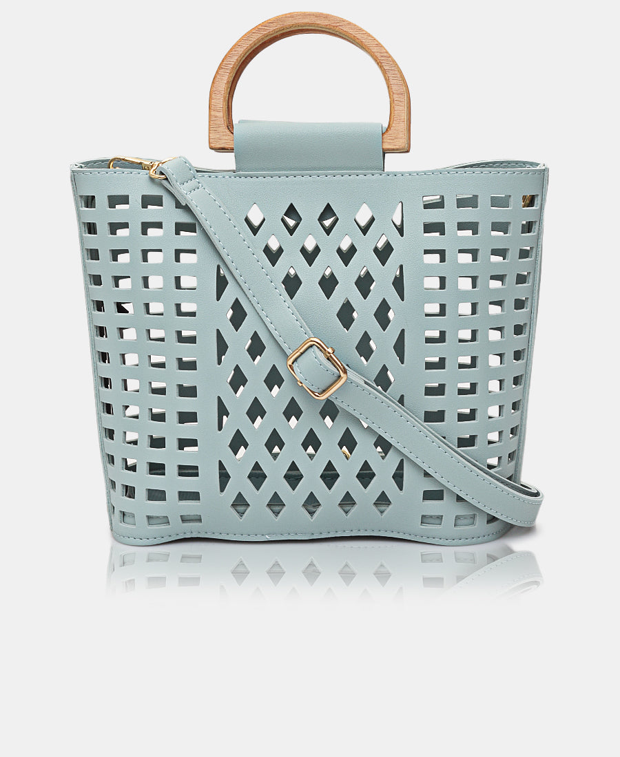 2 Piece Lazer Cut Tote Bag - Light Blue
