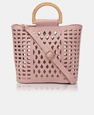 2 Piece Lazer Cut Tote Bag - Pink