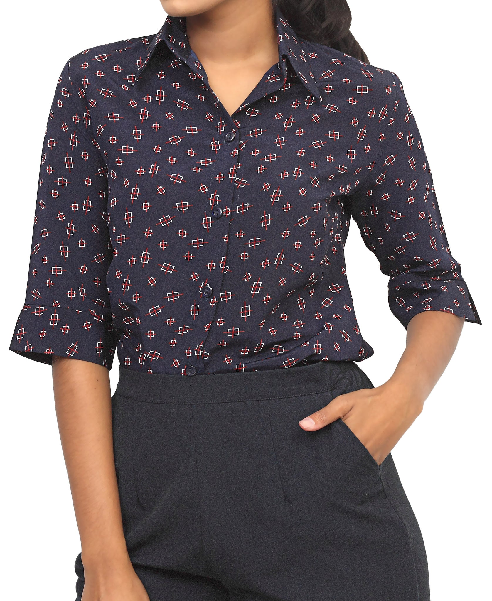 3/4 Sleeve Blouse - Navy