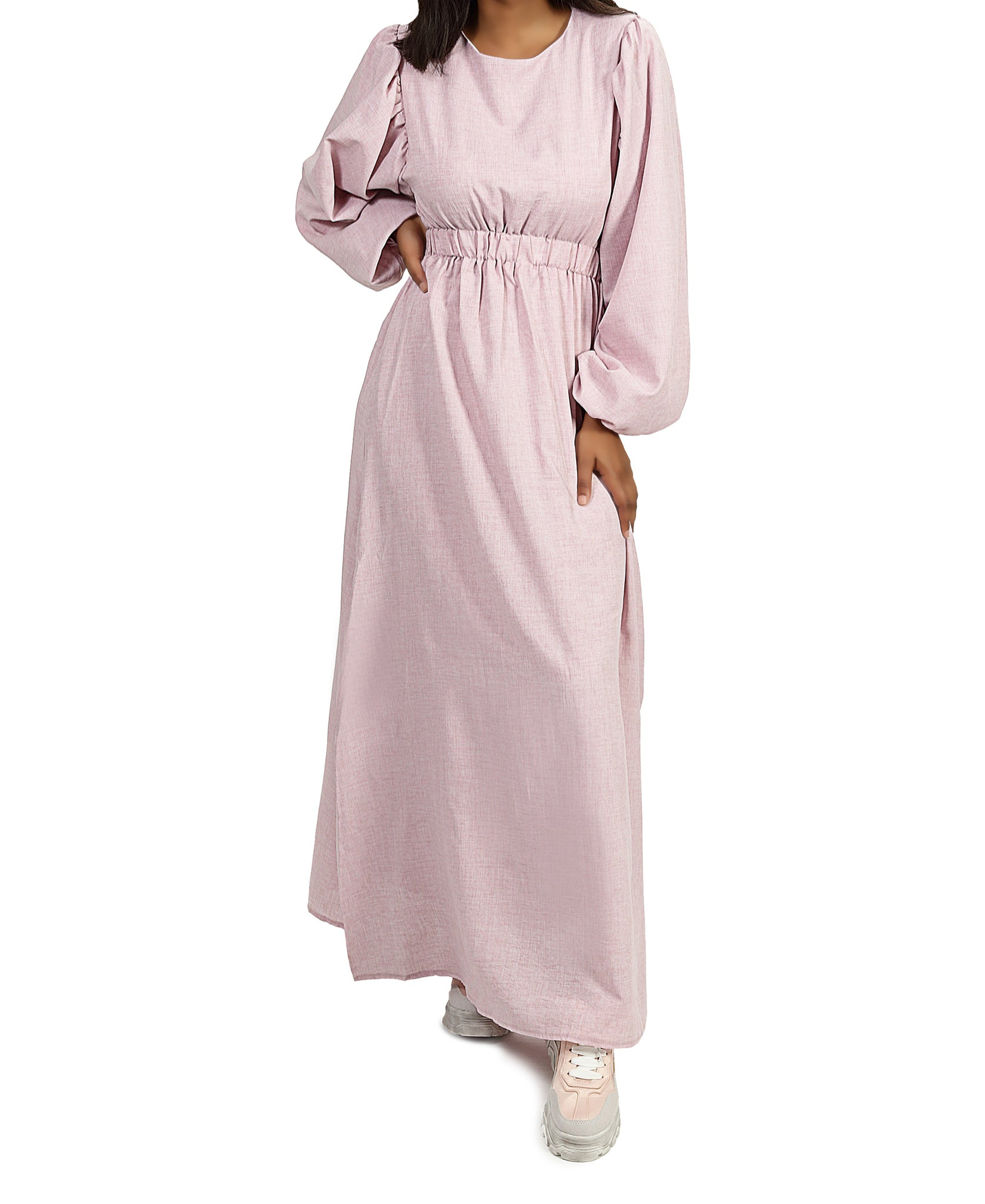 Long Sleeve Maxi Dress - Pink