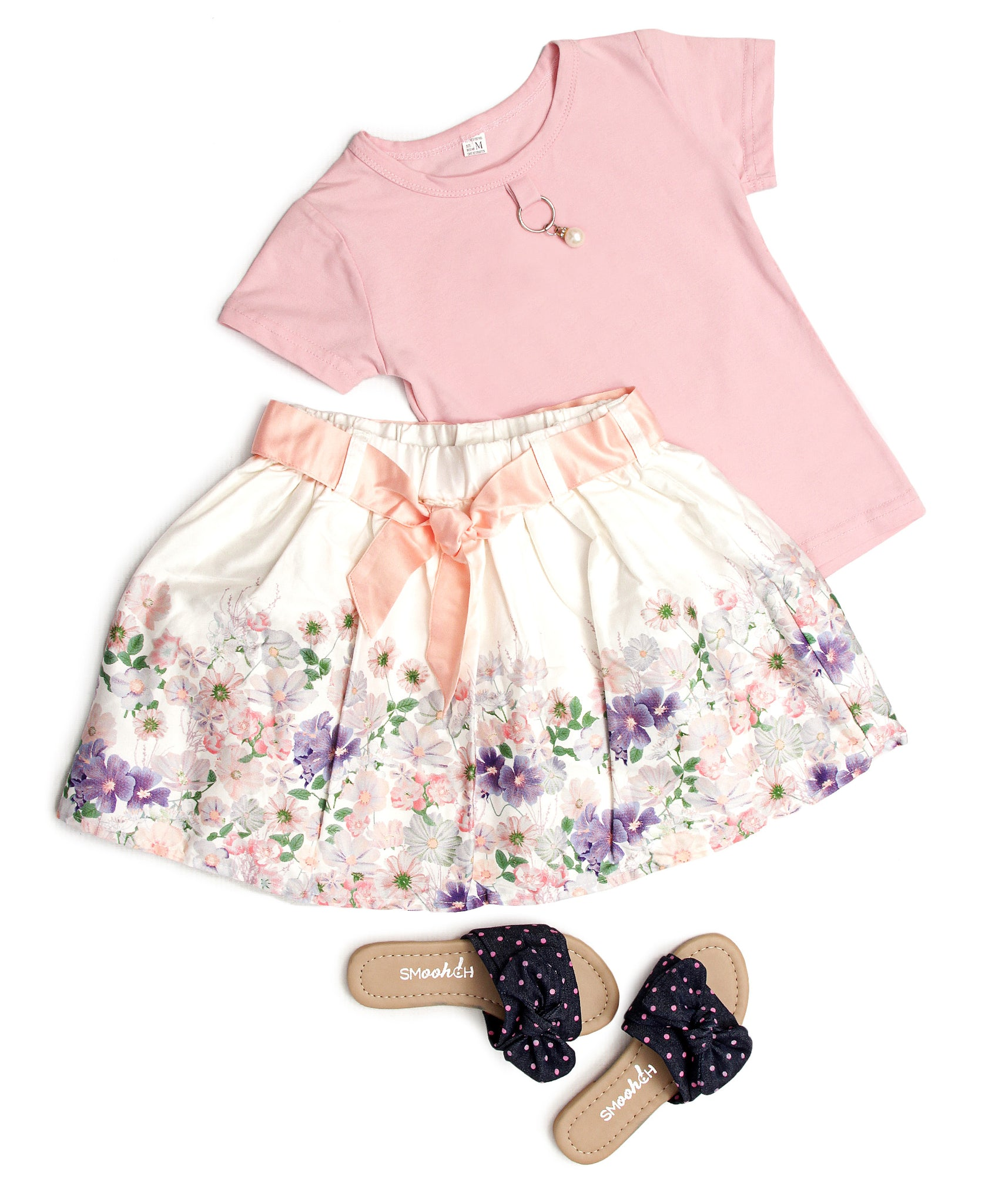 Girls Floral Skirt - White