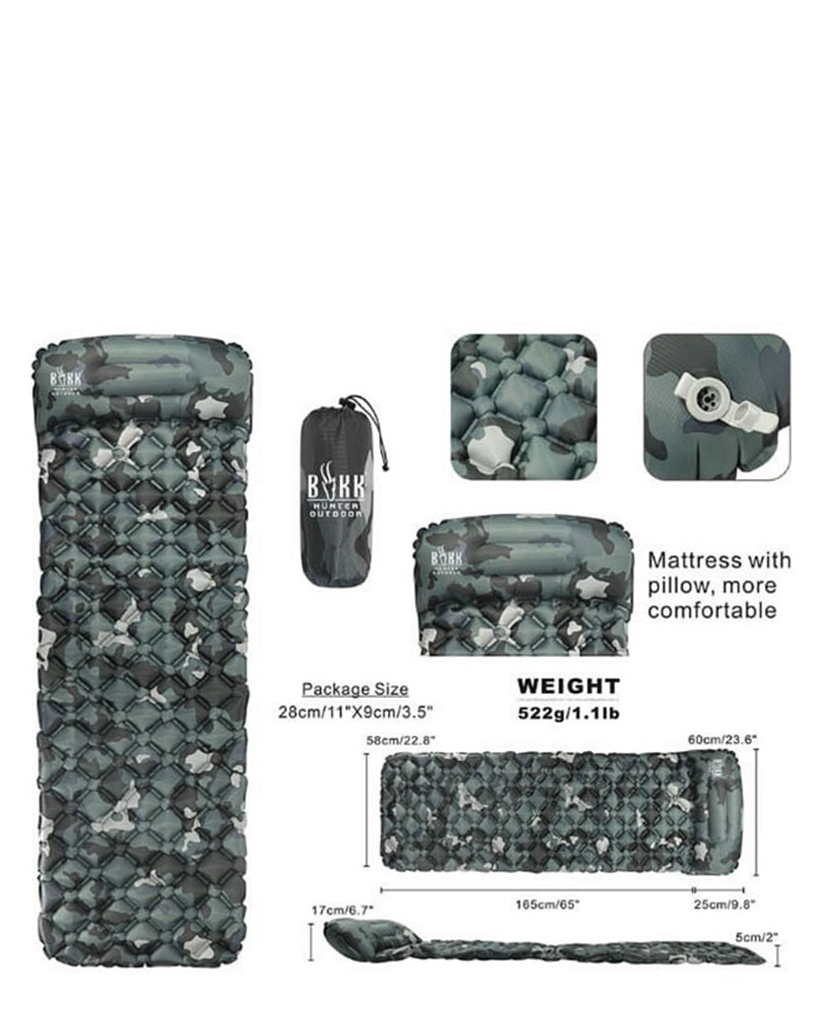 Camo Sleeping Pad With Pillow - Blue