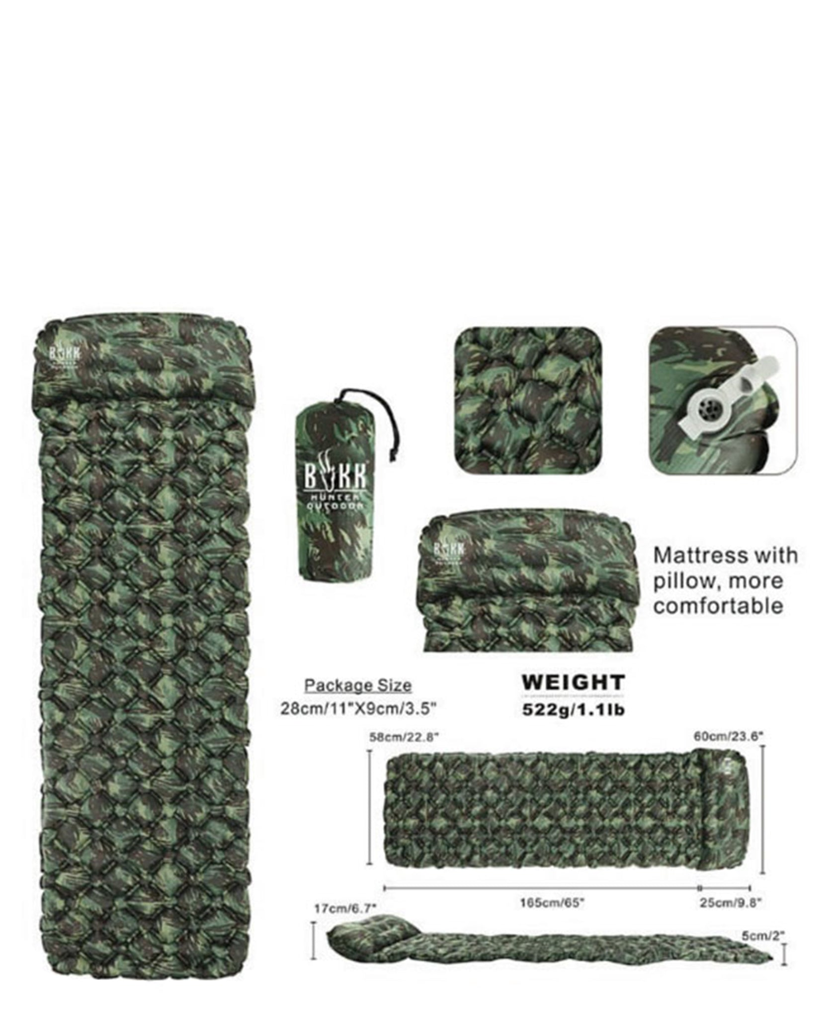 Camo Sleeping Pad With Pillow - Green